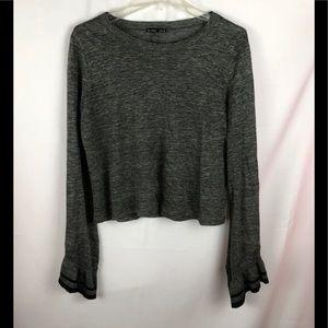 Zara Flared Sleeve Gray Long Sleeve Top